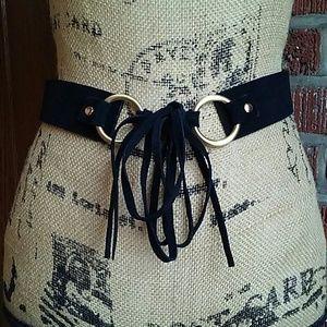 Ann Taylor Black Suede Fringe Tie Belt